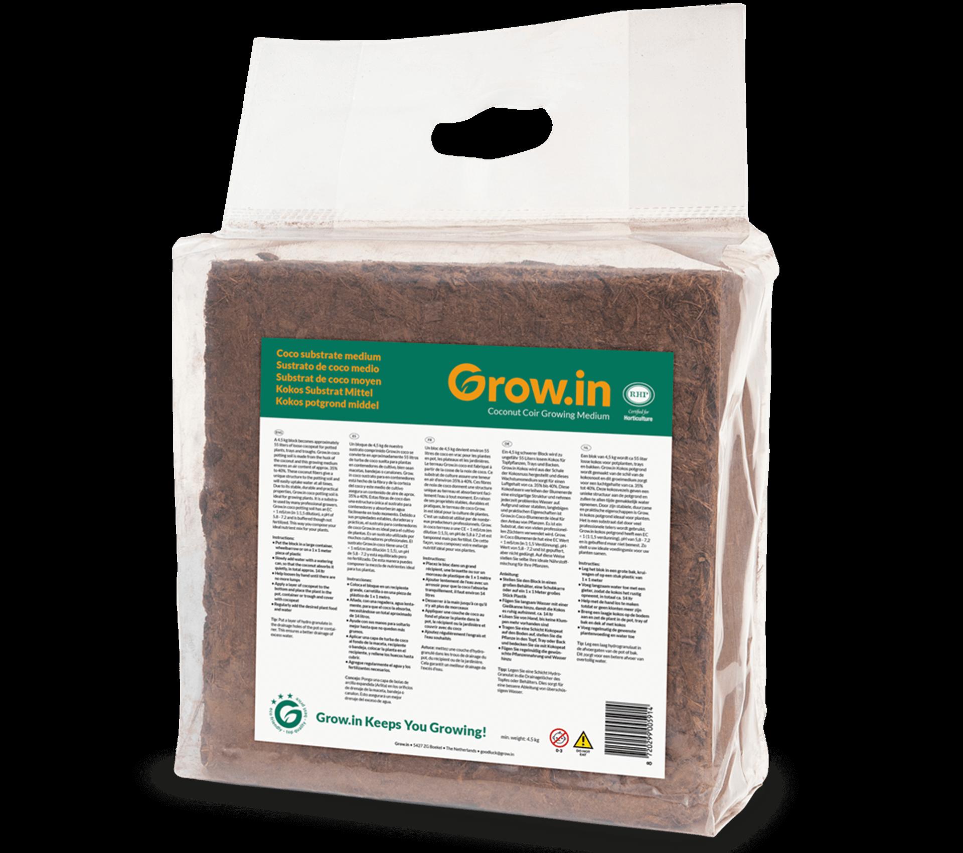 grow.in kokos potgrond mix blok nat